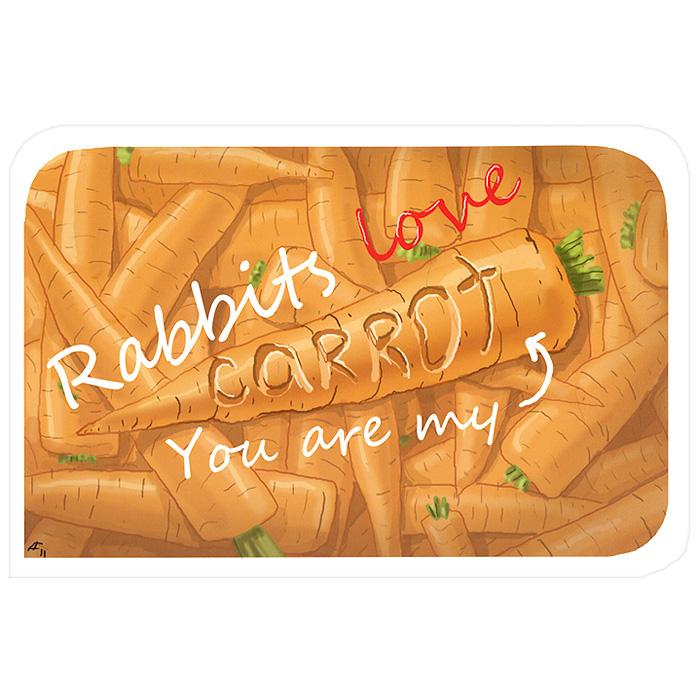 Открытка Rabbits Love. Ручная авторская работа. IL01931131Авторская открытка станет необычным и ярким дополнением к подарку дорогому и близкому вам человеку или просто добавит красок в серые будни. Открытка оформлена изображением морковки инадписью Rabbits Love. You are my carrot. Обратная сторона открытки не содержит текста, что позволит вам самостоятельно написать самые теплые и искренние пожелания. Характеристики: Автор: Vsegdaestpovod. Размер:15 см х 10 см. Материал: бумага. Артикул: Il-19.