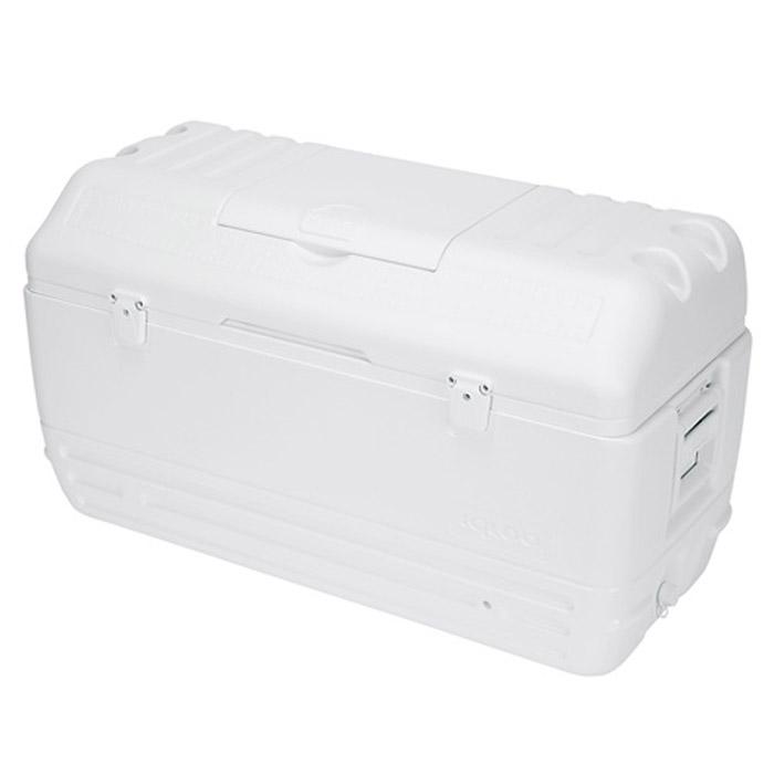 Изотермический пластиковый контейнер Igloo MaxCold 165AS 25Изотермический пластиковый контейнер Igloo MaxCold 165 предназначен для кратковременного хранения или транспортировки охлажденных продуктов и напитков. Для поддержания температуры рекомендуется использовать с аккумуляторами холода.Особенности модели:Крышка надежно фиксируется двумя замками;Резьбовая сливная пробка для отвода конденсата;Двойная пенная изоляция корпуса и крышки UltraTherm позволяет поддерживать хранить лед 7 дней при 30°С;Люк для быстрого доступа к содержимому контейнера;4 держателя со сливом для напитков в крышке контейнера;Удобные складные ручки для переноски. Характеристики: Размер устройства: 105 см х 60 см х 45 см. Вес устройства: 10,8 кг. Объем: 150 л. Изготовитель: США.