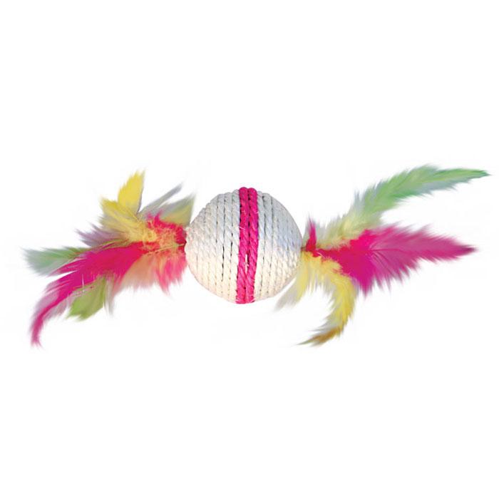 Игрушка-когтеточка Triol Шарик с перьями, цвет: розовый, диаметр 6 см0120710Игрушка-когтеточка Triol Шарик с перьями выполнена из сизаля и украшена разноцветными перьями. Внутри игрушки находится погремушка.Всем кошкам необходимо стачивать когти. Когтеточка - один из самых необходимых аксессуаров для кошки. Для приучения к когтеточке можно натереть ее сухой валерьянкой или кошачьей мятой.Игрушка-когтеточка Triol Шарик с перьями поможет вашему любимцу стачивать когти и при этом не портить вашу мебель.Диаметр игрушки: 6 см.