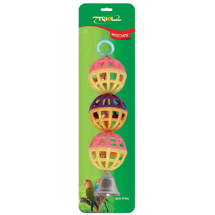 Погремушка для птиц Triol0120710Погремушка для птиц Triol, выполненная из пластика, представляет собой три соединенных сетчатых шарика с колокольчиками внутри. Такая погремушка не даст скучать вашему питомцу. Она подвешивается на клетку за металлический крючок. Диаметр шарика - 4 см, длина погремушки - 15 см. УВАЖАЕМЫЕ КЛИЕНТЫ!Обращаем ваше внимание на возможные изменения в дизайне товара, связанные с ассортиментом продукции. Поставка осуществляется в зависимости от наличия на складе.