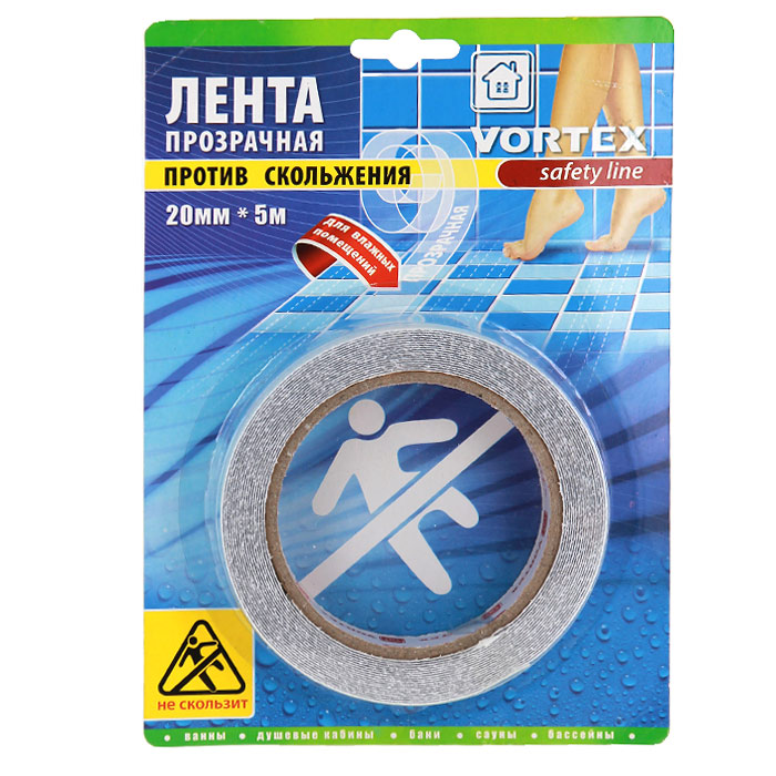 Лента противоскользящая Vortex для влажных помещений, прозрачная, 20 мм х 5 м1004900000360Противоскользящая прозрачная лента Vortex, выполненная из мягкого текстурированного полимера, предназначена для покрытия поверхностей в местах с повышенной влажностью - в ванной, душевых кабинах, банях, саунах, раздевалках, вокруг бассейнов. Безопасная, противоскользящая поверхность, высокая прочность и долговечность. Легко очищается бытовыми моющими средствами. Эффективно защищает от скольжения, падений и травм. Проста в применении.Характеристики:Материал: мягкий текстурированный полимер, (ПВХ) высокоэффективный клеящий состав. Ширина ленты: 20 мм. Длина ленты: 5 м. Размер упаковки: 21 см х 15 см х 2 см. Изготовитель: Китай. Артикул: 22513.