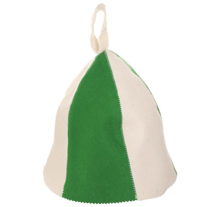 Шапка для бани и сауны Банные штучки Разноцветная, цвет: белый, зеленый00007907Шапка для бани и сауны Банные штучки Разноцветная, изготовленная из войлока, это незаменимый аксессуар для любителей попариться в русской бане и для тех, кто предпочитает сухой жар финской бани. Необычный дизайн изделия поможет сделать ваш отдых более приятным и разнообразным, к тому же шапка защитит вас от появления головокружения в бане, ваши волосы от сухости и ломкости, а голову от перегрева.Такая шапка станет отличным подарком для любителей отдыха в бане или сауне. Диаметр основания шапки: 36 см.Высота шапки (без учета петельки): 26 см.