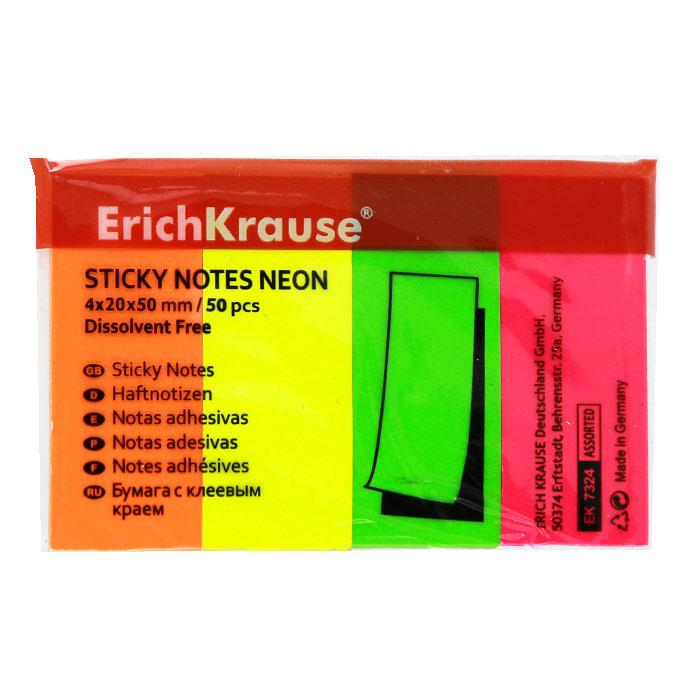 Бумага для заметок Erich Krause, с липким слоем, 200 листов, 2 см х 5 см2010440Бумага для заметок Erich Krause с липким слоем прекрасно подойдет для записи номеров телефонов, адресов, напоминания о важной встрече или внезапно пришедшей полезной мысли.Бумагу можно наклеивать на любую гладкую поверхность, без опасения оставить след от клея.Комплект включает четыре блока по 50 листов желтого, салатового, розового и оранжевого цветов. Характеристики:Размер листа: 2 см х 5 см. Количество: 50 листов в блоке.
