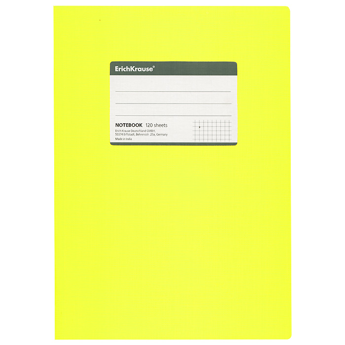 Тетрадь Fluor Color, цвет: желтый, 120 листов, В572523WDОбщая тетрадь Fluor Color со скругленными уголками представляет новую линию универсальных общих тетрадей Erich Krause, предназначенных для студентов, учеников старших классов, преподавателей и для всех тех, кому важно записывать и надежно хранить нужную информацию. Яркая желтая обложка из ламинированного картона добавит новых ноток в рабочие будни. Внутренний блок выполнен из белой бумаги в серую клетку без полей. На обложке расположена наклейка для подписи тетради. Характеристики:Материал: картон, бумага. Размер тетради: 17 см х 24 см х 1,1 см. Формат: В5. Количество листов: 120. Изготовитель: Индия.