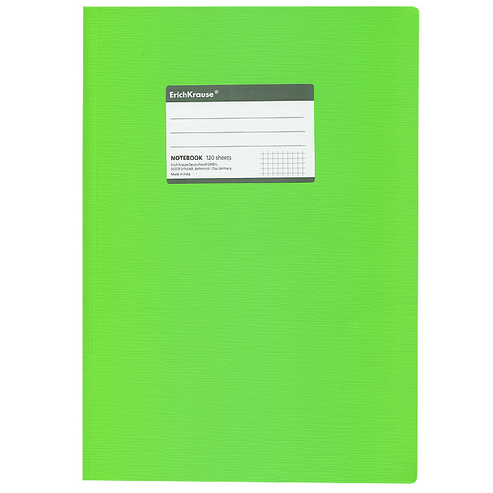 Тетрадь Fluor, цвет: зеленый, 120 листов, А431487Общая тетрадь Fluor со скругленными уголками представляет новую линию универсальных общих тетрадей Erich Krause, предназначенных для студентов, учеников старших классов, преподавателей и для всех тех, кому важно записывать и надежно хранить нужную информацию. Яркая зеленая обложка из ламинированного картона надежно защитит от влаги и поможет сохранить аккуратный внешний вид тетради. Внутренний блок выполнен из белой бумаги в серую клетку без полей. На обложке расположена наклейка для подписи тетради. Характеристики:Материал: картон, бумага. Размер тетради: 20,7 см х 29,2 см х 1,1 см. Формат: А4. Количество листов: 120. Изготовитель: Индия.