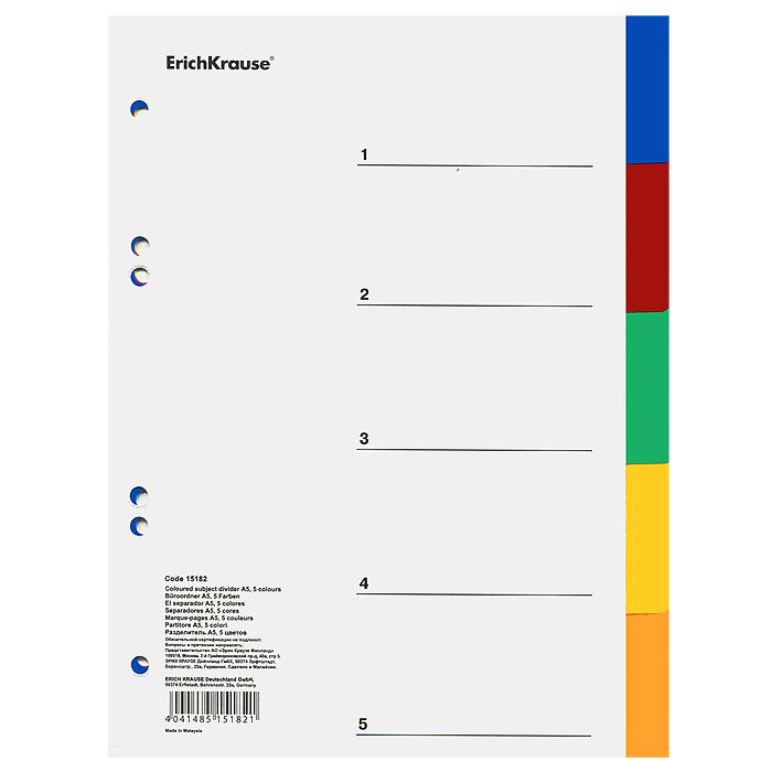 Разделитель Erich Krause, А5, 5 цветовFS-54115Цветные разделители листов Erich Krause предназначены для хранения и классификации документов формата А5 в папках или тетрадях на кольцах. Изготовлены из полипропилена 5 ярких классических цветов - синего, красного, зеленого, желтого и коричневого. Имеют боковую мультиперфорацию.Характеристики: Размер:16 см х 21,5 см. Изготовитель:Малазия.