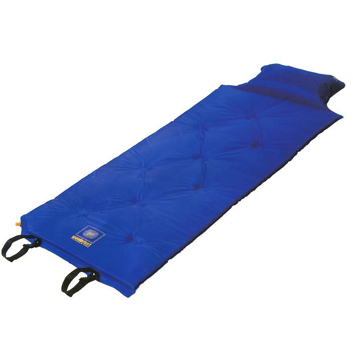 Коврик Wanderlust V-Max 25, самонадувающийся, с подушкой, цвет: синий15550Самонадувающийся коврик Wanderlust V-Max 25 - идеальный выбор для туризма, отдыха и занятия спортом. Быстрое надувание коврика за счет использования высококачественного вспененного наполнителя;Надувная подушка в изголовье;Отличная защита от сырости и холода земли;Прочное, моющееся внешнее покрытие;Комфорт при использовании на любом типе поверхности; Можно использовать как запасное спальное место, для запозднившегося гостя;Склейка точечная. В комплект входит чехол с завязкой на кулиске. Характеристики:Размер: 188 см х 55 см х 2,5 см. Материал наружный:100% полиэстер с пропиткой PVC. Наполнитель: вспененный полиуретан, 25 кг/м3. Клапан: пластиковый. Вес: 1220 г. Цвет: синий.Производитель: Китай.Артикул:15550.