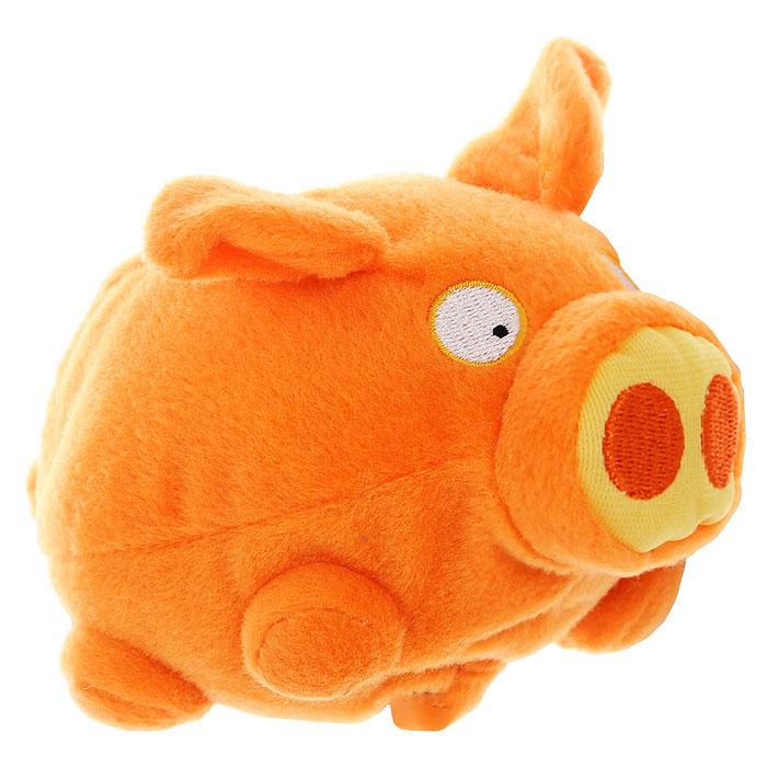 Мягкая интерактивная игрушка Woody OTime Свинка, цвет: оранжевый, 10 см