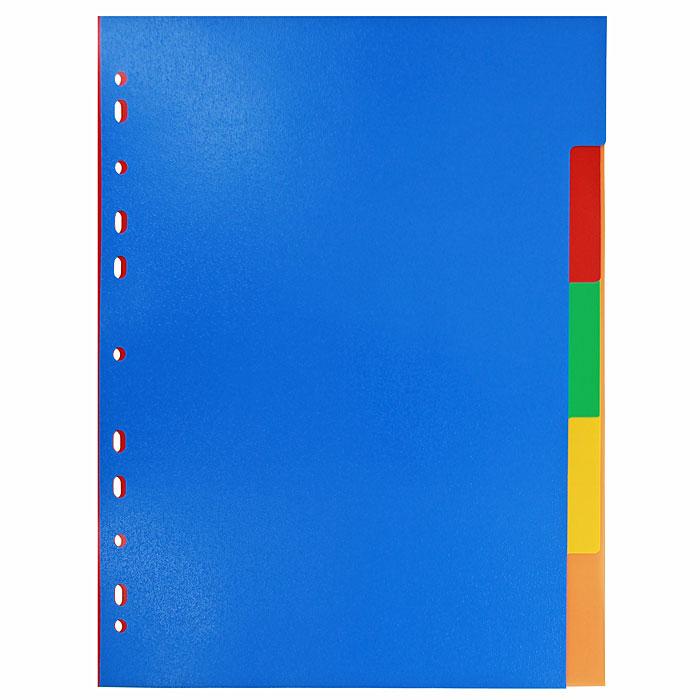 """Цветовой разделитель листов """"Erich Krause"""" - удобный офисный инструмент, предназначенный для классификации документов и рабочих бумаг формата А4. Универсальная перфорация совместима со всеми видами кольцевых механизмов. Комплект включает 5 разделителей из высококачественного пластика синего, красного, желтого, зеленого и оранжевого цветов."""