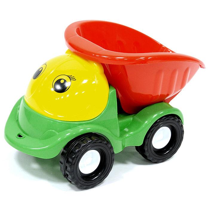 """Яркий грузовик """"Пчелка"""" обязательно понравится малышу и доставит ему много удовольствия от часов, посвященных игре с ним. Грузовик с очаровательными глазками имеет вместительный кузов, который можно опускать, и большие колеса. Машинку можно катать на веревочке. Занятия с такой игрушкой помогут малышу развить цветовое восприятия, воображение и мелкую моторику рук. Порадуйте своего малыша таким замечательным подарком!"""
