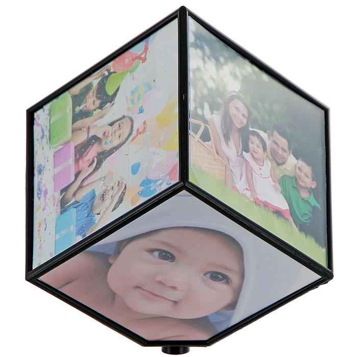 Фоторамка Куб, вращающаяся, 10 см х 10 см, на 6 фотографий25051 7_желтыйДекоративная фоторамка, выполненная в виде куба, украсит интерьер помещения оригинальным образом, а также позволит сохранить на память изображения дорогих вам людей и интересных событий вашей жизни. На гранях куба вы сможете разместить шесть фотографии формата 10 см х 10 см. Куб совершает вращение на 360 градусов. С такой фоторамкой вы сможете внести в интерьер своего дома элемент необычности. Гнездо под батарейку находится на одной из плоскости фоторамки, нужно вытащить прозрачную пластинку и демонстрационную фотографию. Ничего раскручивать не надо! Характеристики:Материал:пластик. Размер куба: 10,5 см х 10,5 см х 10,5 см. Размер фотографии: 10 см х 10 см. Размер упаковки: 11,5 см х 11,5 см х 11,5 см. Артикул:93555. Рекомендуется докупить 1 батарейку AA (не входит в комплект).