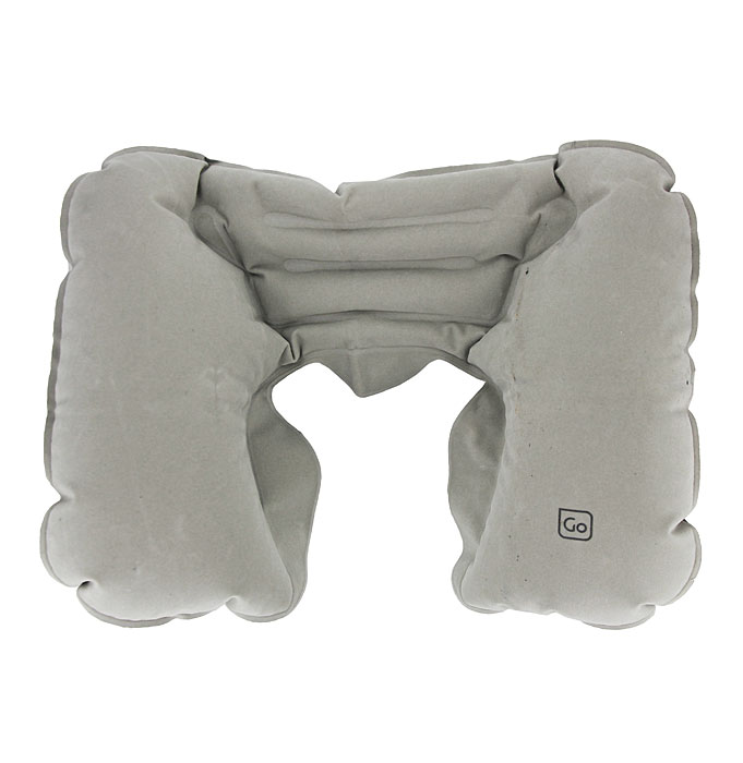 Надувная подушка-подголовник для шеи  Go Travel , цвет: серый. 447 DG - Подушки