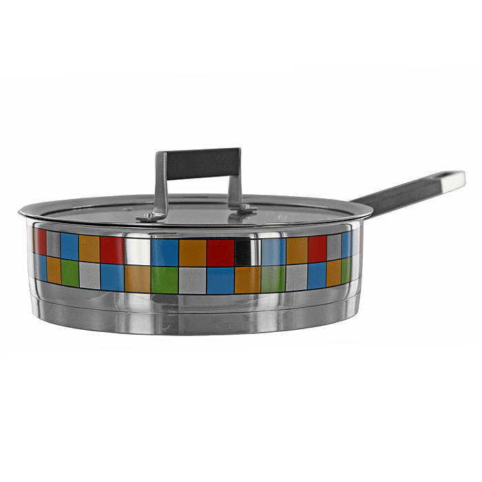 Сотейник с крышкой Polaris Mosaic Line. Диаметр 24 см391602Функциональный сотейник Polaris Mosaic Line с крышкой идеально подходит для приготовления соте или поджаривания. Высокие стенки позволяют легко перевернуть и быстро перемешать ингредиенты. Оснащен вентилируемой термостойкой стеклянной крышкой с металлическим ободом. Тройное вштампованное, а затем вплавленное термоаккумулирующее дно толщиной 5,6 мм с прослойкой из алюминия (4,5 мм) обеспечивает быстрый и равномерный нагрев посуды, отметки литража на внутренних стенках посуды, удобная литая ручка с силиконовой вставкой - все это поможет вам готовить вкусную и здоровую пищу. Сотейник с зеркальной полировкой декорирован уникальной мозаичной деколью - украсит вашу кухню своим оригинальным дизайном. Сотейник подходит для газовых, электрических, стеклокерамических и индукционных плит. Характеристики:Материал: нержавеющая сталь 18/10, силикон. Объем: 2,5 л. Внутренний диаметр сотейника:24 см. Толщина стенок сотейника:0,6 мм. Толщина дна сотейника:5,6 мм Высота стенок сотейника:7,5 см. Длина ручки:19 см. Размер упаковки:42,5 см х 26 см х 9,5 см. Изготовитель:Китай. Артикул:24 SP.