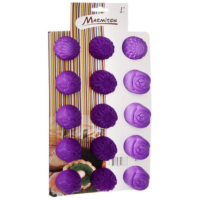 Форма для выпечки Marmiton Цветочки, цвет: сиреневый, 29,5 см х 17,5 см х 2,5 см, 15 ячеек16004Форма для выпечки Marmiton Цветочки выполнена из силикона. На одном листе расположены 15 ячеек, выполненных в виде цветов. Благодаря тому, что форма изготовлена из силикона, готовый лед, выпечку или мармелад вынимать легко и просто.С такой формой вы всегда сможете порадовать своих близких оригинальной выпечкой.Материал устойчив к фруктовым кислотам, может быть использован в духовках, микроволновых печах и морозильных камерах (выдерживает температуру от 240°C до - 40°C). Можно мыть и сушить в посудомоечной машине.Общий размер формы: 29,5 см х 17,5 см х 2,5 см. Размер ячейки: 4 см х 4 см х 2,5 см.