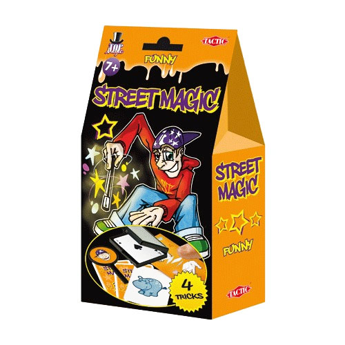 """Набор для фокусов """"Уличная магия"""" поможет вам удивить своих друзей и создать массу положительных эмоций и хорошего настроения. С помощью набора вы сможете научиться следующим фокусам: """"Веселая коробка"""", """"Веселая табличка"""", """"Веселый трюк с большим пальцем"""" и """"Веселые карточки с животными"""". Фокус """"Веселая коробка"""" поразит зрителей колдовской силой фокусника - в коробке то и дело будут появляться различные предметы. """"Веселая табличка"""" превратит грустного человека в самого веселого на свете. Зрители увидят исчезновение предметов в фокусе """"Веселый трюк с большим пальцем"""" и волшебным образом узнают животных, нарисованных на """"Веселых карточках с животными"""". Набор содержит все необходимое: табличку, пластиковый палец, три карты, коробочку, три карточки и подробное описание фокусов."""