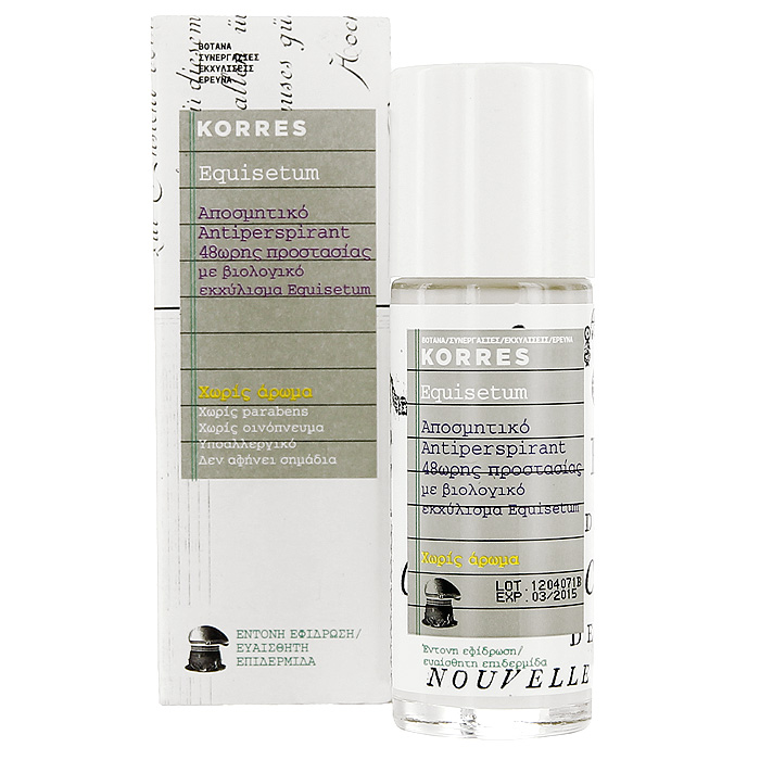 Korres Дезодорант шариковый с экстрактом хвоща, для чувствительной кожи, без отдушек, 30 млMP59.3DБез отдушек, без парабенов, без спирта, гипоаллергенный, не оставляет следов. Дезодорант, который обеспечивает комфорт чувствительной кожи на 48 часов. Входящие в состав натуральные активные компоненты и экстракт хвоща обеспечивают эффективную защиту от пота и неприятного запаха. Активный компонент ромашки – бисаболол – предотвращает появление раздражений, смягчая и увлажняя кожу.• Соли алюминия – вяжущие, антибактериальные свойства, защита от пота и раздражений • Хвощ – обладает антибактериальными, дезинфицирующим, ранозаживляющим, вяжущим свойствами • Бисабол – устраняет раздражения, обладает противовоспалительным действием • Компоненты противомикробного действия – 100% растительного происхождения, подавляют активность бактерий, являющихся причиной неприятного запахаНаносить каждый день утром и/или вечером на чистую, сухую кожу.