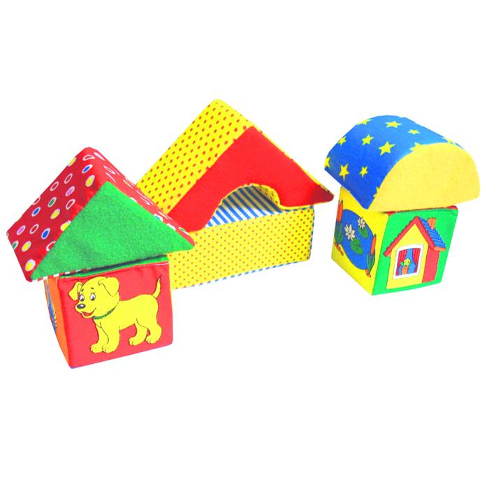 """Кубики-мякиши """"Домики"""" помогут Вашему ребенку научится подбирать каждому животному свой дом. В наборе есть подставка, два кубика с крышами - один большой и один маленький. На маленьком кубике изображены различные животные, а на большом - места, где они живут. Ваш ребенок узнает и сможет запомнить: основные и дополнительные цвета; две градации величины: """"большой"""" и """"маленький""""; объемные геометрические формы куб (кубик) и призму (""""крышу""""); шестерых из самых распространенных животных и места их обитания; слова с обобщающим значением (""""животные"""", """"домашние животные"""", """"лесные животные""""); особенности внешнего строения животных (количество конечностей, цвет, органы чувств и так далее). Кубики изготовлены из высококачественной ткани и мягкого наполнителя, что позволяет им быть абсолютно безопасными в игре. Удачно подобранный размер, цвет, живые и понятные рисунки развивают мышление, координацию движений и..."""