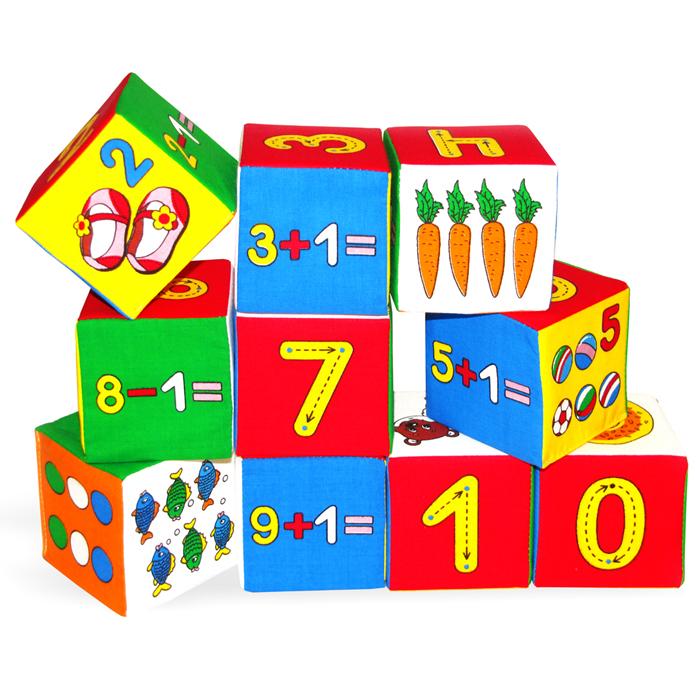 """Кубики-мякиши """"Умная математика"""" - это уникальный набор из десяти мягких кубиков, которые научат малыша понимать, что такое цифра, счет, вычет, цвет, форма, мягкое, а также познакомят кроху с различными животными, растениями и предметами. Яркие и привлекательные кубики имеют удобный для руки ребенка размер и комбинированную расцветку. Кубики-мякиши """"Умная математика"""" научат Вашего малыша: узнавать количество разных предметов; считать от 0 до 9; узнавать цифры от 0 до 9; изучать правила записи каждой цифры; обозначать цифрами разные количества предметов; решать примеры на сложение и вычитание. Кубики изготовлены из высококачественной ткани и мягкого наполнителя, что делает их абсолютно безопасными в игре. Удачно подобранный размер и цвет развивают мышление, координацию движений и совершенствуют моторику нежных пальчиков малыша."""