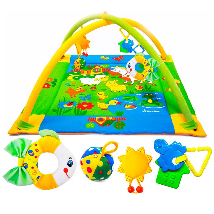 """Яркий развивающий коврик """"Лужайка"""" станет первой площадкой для игр вашего малыша. Коврик """"Лужайка"""" - это сенсорный тренажер для ориентировки малыша в пространстве, насыщенный цветами, изображениями и объемными формами, также это чудесный мир персонажей, эмоционально близких маленькому ребенку. Прямоугольный набивной коврик выполнен из необычайно мягкого и приятного на ощупь материала с яркими цветными рисунками. На поверхности коврика малыш найдет шуршащий пруд с рыбкой и лягушкой, домик с открывающимся окошком, уточку с пищалкой внутри и яркие изображения домашних животных, резвящихся на летней лужайке. Коврик оборудован двумя съемными дугами, которые помогут малышу расслабиться, обеспечивая визуально безопасное пространство, напоминающее о пребывании в уютном мамином животике. На дугах малыш найдет три развивающие съемные игрушки: мячик-погремушку, солнышко с пищалкой внутри, разноцветную рыбку-погремушку и два прорезывателя для зубов розового и белого цветов. ..."""