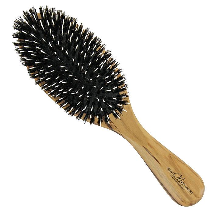 Щетка для волос Riffi, с нейлоновыми зубцами и щетинойMP59.4DМассажная щетка Riffi подходит для всех типов волос и должна быть у каждой женщины — овальная, с нейлоновыми зубцами и щетинками. Корус щетки выполнен из натуральной древесины оливкового дерева, подушка - из резины. Нейлоновые зубчики не растягивают и не повреждают волосы, а щетина массирует кожу головы, улучшает кровообращение, стимулируя рост волос и делая их здоровыми и сияющими. Характеристики:Материал: натуральное оливковое дерево, резина, нейлон. Размер (без учета ручки): 11 см x 6 см x 3 см. Длина ручки: 10 см. Производитель: Германия. Артикул:5810. Товар сертифицирован.