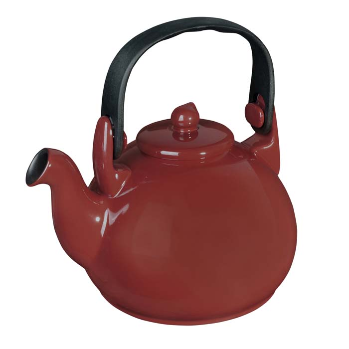 Чайник Ceraflame Colonial, цвет: красный, 1,7 л6879 WBЧайник Ceraflame Colonial изготовлен из жаропрочной керамики с нанесением керамического покрытия. Чайник очень быстро нагревается, потому что керамика, из которой он изготовлен, обладает высокой теплопроводностью. Время закипания воды меньше примерно на 30%. Чайник подходит и для кипячения воды, и для заваривания чая и трав. Вода в керамическом чайнике не дает накипи. Изделие покрыто уникальной гладкой эмалью красного цвета, устойчивой к трещинам и царапинам. Непористая поверхность исключает образование бактерий, великолепно моется и будет оставаться новой и блестящей даже после использования абразивных и чистящих средств.Можно использовать на открытом огне, на газовой, электрической и стеклокерамической плите. Подходит для микроволновой и конвекционной печи, морозильной камеры и посудомоечной машины. Объем: 1,7 л. Диаметр чайника (по верхнему краю): 6,5 см. Диаметр основания: 14,5 см. Высота чайника (без учета крышки): 12,5 см.