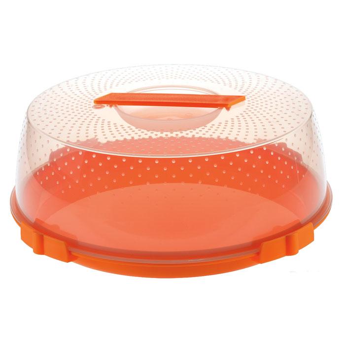 Тортница Cosmoplast Оазис, цвет: оранжевый, прозрачный, диаметр 32 см115510Тортница Cosmoplast Оазис изготовлена из высококачественного прочного пищевого пластика. Тортница имеет удобную ручку для переноски и прочные фиксаторы крышки. Может использоваться в микроволновой печи и морозильной камере (выдерживает температуру от -30°С до +115°С). Очень гигиенична и легко моется. Можно мыть в посудомоечной машине. Диаметр тортницы: 32 см. Внутренний диаметр тортницы: 28 см. Высота тортницы: 13 см.Внутренняя высота: 10 см.