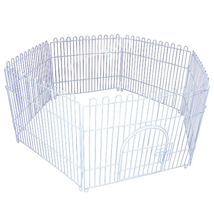 Вольер для животных Triol шестисекционный, 84 см х 69 смK-K3Вольер для животных Triol, выполненный из металла с эмалированным покрытием, состоит из 6 секций. Одна из секций снабжена металлической дверцей с надежным запором-задвижкой, дверца открывается на 180 градусов, плотно прижимаясь к стенке. Конструкция отличается надежностью, секции соединены между собой при помощи металлических скоб.Подходит для дома, дачи, для выгула собак и щенков на улице. Из секций можно собрать ограждение любой формы для вашего животного. Размер одной секции (Ш х В): 84 см х 69 см.
