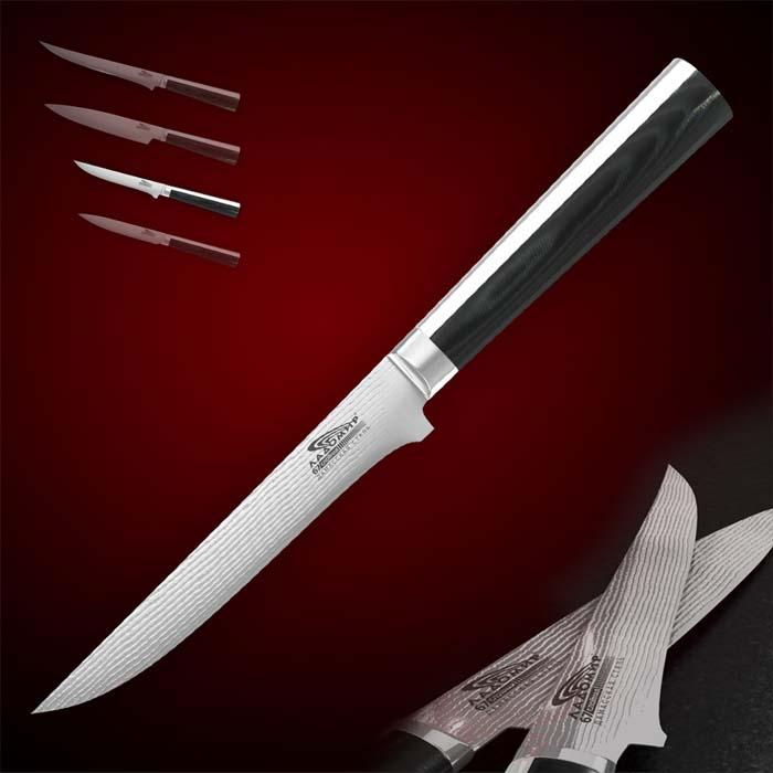Нож для мяса Ладомир Pakka Wood, длина лезвия 13 см. А4КСМ1317028_ красныйНож Ладомир Pakka Wood с лезвием из многослойной кованой дамасской стали предназначен для мяса. Очень удобная и эргономичная рукоятка, выполнена из металла и оснащена цельнокованым антибактериальным больстером. Такой нож займет достойное место среди аксессуаров на вашей кухне.Особенности ножа Ладомир Pakka Wood: - твердость по Роквеллу - HRC 58; - углеродные нанотрубки диаметром до 80 нанометров - режущие свойств лезвия в 2,7 раза выше, чем у обычного ножа. - износостойкость лезвия соответствует ГОСт 23,204-78. Характеристики:Материал: высокоуглеродистая нержавеющая сталь, пластик. Общая длина ножа: 26 см. Длина лезвия: 13 см. Изготовитель: Китай. Артикул: А4КСМ13.