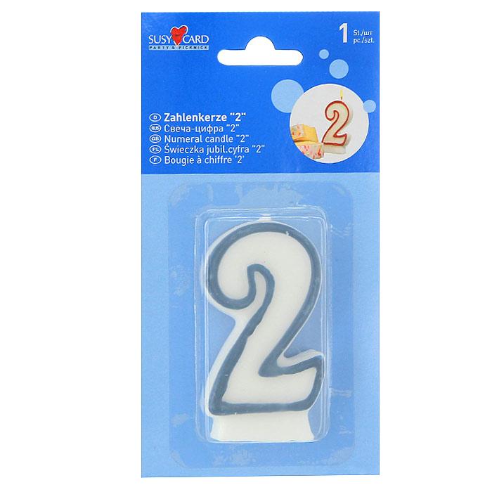 """Свеча в форме цифры """"2"""" - отличное решение для декорирования торта, десерта ко дню рождения или юбилею. Характеристики: Высота свечи: 8 см. Размер упаковки: 9 см x 17,5 см x 1,5 см."""