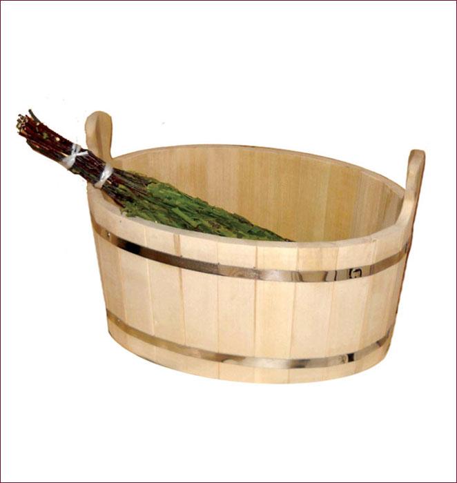 Ушат Шайка, 30 лМА3215Ушат Шайка овальной формы, выполненный из липы, прекрасно подойдет для замачивания веника или других банных процедур. Ушат, изготовленный из этой древесины, не портится от воды. Характеристики:Материал: дерево (липа), металл. Объем: 30 л. Размер: 53 см х 43 см х 31 см. Артикул: 03658.