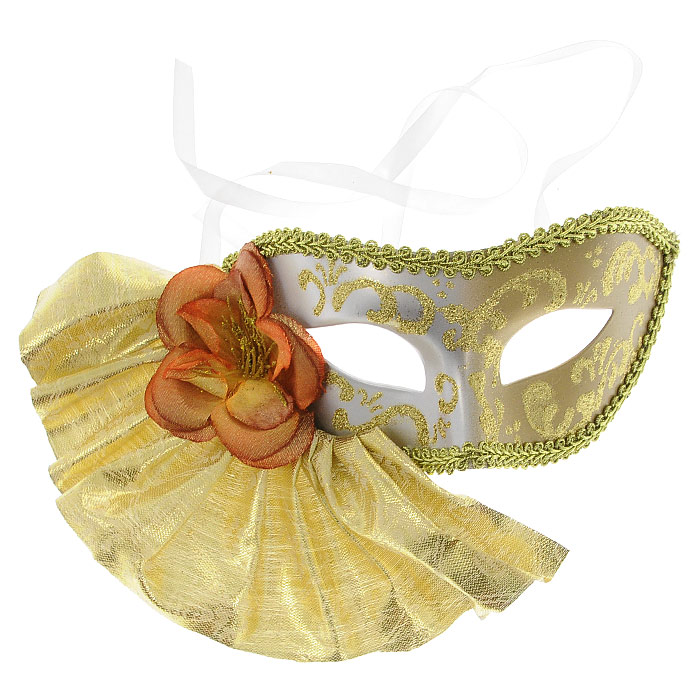 Карнавальная маска Magic Time. 2548325070Изящная карнавальная маска из пластика украшена тканью золотого цвета, в виде веера с цветком, а также узорами из золотых блесток. Такая маска внесет нотку задора и веселья в праздник. Маска станет завершающим штрихом в создании праздничного образа.Карнавальная маска держится при помощи атласных ленточек. В этой роскошной маске вы будете неотразимы! Характеристики:Материал:пластик, текстиль. Размер маски: 17,5 см х 9 см. Изготовитель: Китай. Артикул:25483.