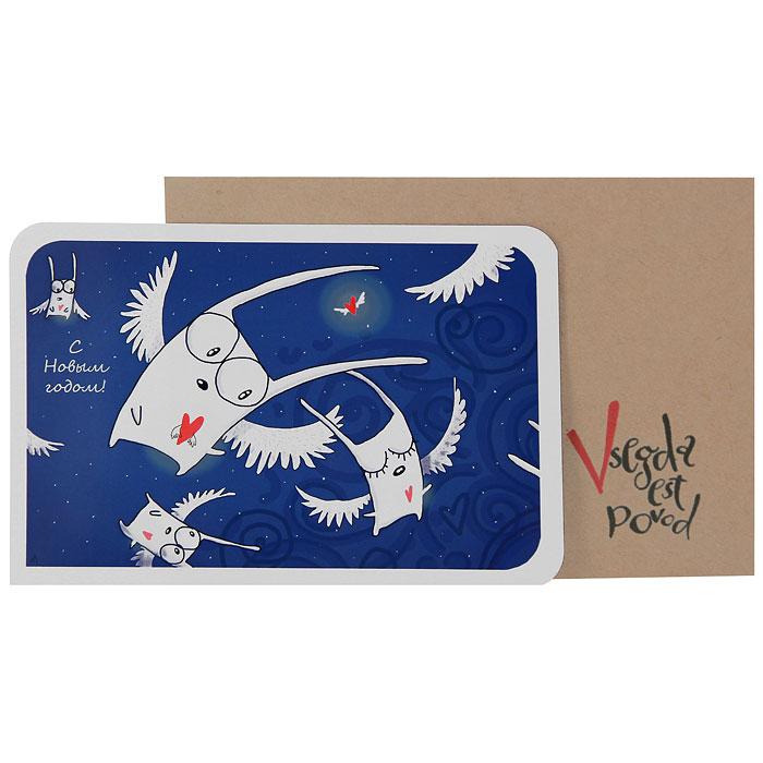Открытка С Новым годом!. Ручная авторская работа. NY01620662Авторская открытка, оформленная изображением в виде летающих зайцев и надписью С Новым годом! станет необычным и ярким дополнением к подарку дорогому и близкому вам человеку или просто добавит красок в серые будни.Обратная сторона открытки не содержит текста, что позволит вам самостоятельно написать самые теплые и искренние пожелания.К открытке прилагается бумажный конверт Vsegda est povod. Характеристики: Размер открытки:15 см х 10 см. Материал: бумага. Артикул: ny16-стандарт.