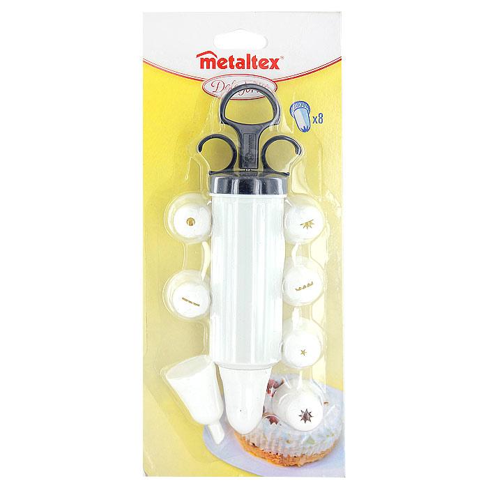 Шприц кондитерский Metaltex с 8 насадками25.92.10Шприц кондитерский Metaltex, изготовленный из пластика, предназначен для помещения и выдавливания разных кремов, в основном служащих для украшения пирожных и тортов. В наборе к шприцу прилагается 8 насадок, имеющих разное сечение и профиль. Кондитерский шприц - превосходный инструмент, который облегчает и ускоряет процесс выпечки печенья, бисквитов, пряников и т.д., идеален для украшения десертов и пирогов сливками или заварным кремом, для заполнения пончиков джемом, а также для украшения бутербродов, тостов и канапе паштетом, маслом, плавленым сыром. Праздничный стол требует особого внимания! Благодаря удивительному помощнику - кондитерский шприц - вы быстро и легко приготовите выпечку любой формы, какой только пожелаете. Характеристики:Материал:пластик. Длина шприца (в собранном виде без насадок): 20,5 см. Объем шприца: 130 мл.Диаметр насадки: 3 см. Количество насадок: 8 шт. Размер упаковки: 28 см х 12 см х 5 см. Производитель: Китай. Артикул: 25.24.50.
