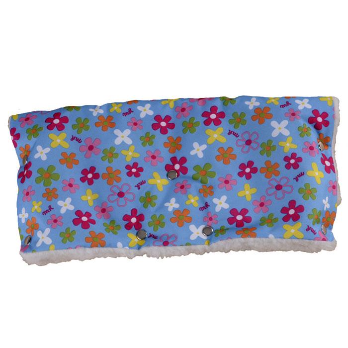 Муфта для рук на коляску  Чудо-Чадо , меховая, цвет: голубой в цветочек - Коляски и аксессуары