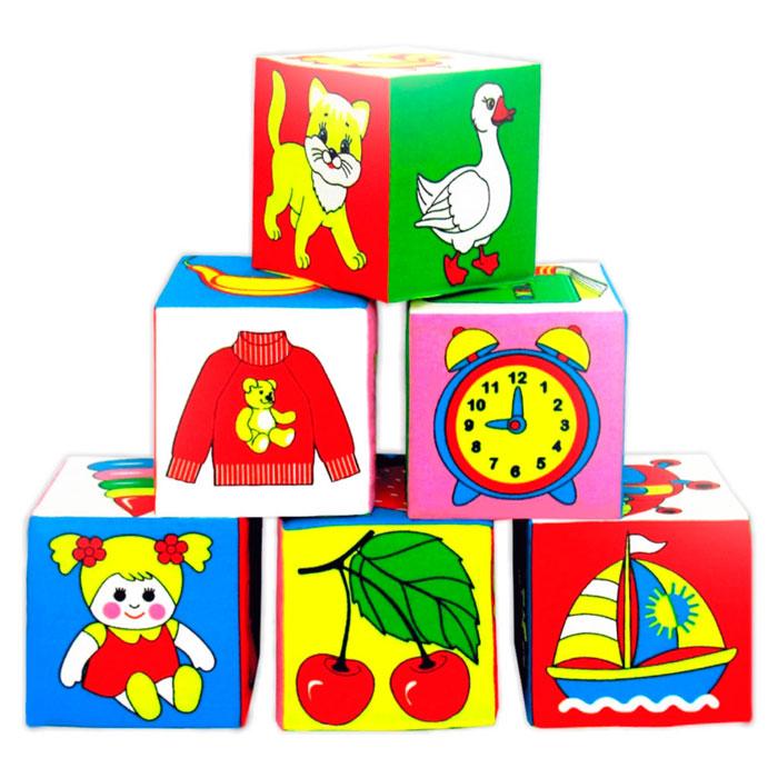 """Благодаря кубикам-мякишам """"Предметы"""" Ваш ребенок в игровой форме познакомится с различными предметами, животными и фруктами. Играя с кубиками """"Предметы"""", Ваш ребенок сможет очень хорошо научиться: различать, показывать и называть до семи цветов; сравнивать цветные изображения на кубиках, сначала прикладывая один кубик к другому, а затем только визуально (""""на глаз""""); находить изображение нужного предмета среди других изображений и произносить нужное слово в ответ на вопрос """"Что (кто) это?""""; отвечать звукоподражанием на вопросы: """"Как мяучит котенок?"""", """"Как гогочет гусь?""""; различать и называть части тела животных (голову, лапы, хвост, крылья), отвечая на вопрос """"Что это?""""; различать, показывать и называть отдельные детали изображений: """"у гуся - красные лапки и красный клюв"""", """"на туфельках - желтые бантики"""", """"у лошадки - красное седло и желтый хвост"""" и так далее; понимать и использовать в речи некоторые предлоги: """"положи кубик в коробочку"""",..."""