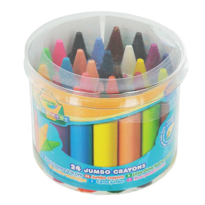 Восковые мелки Crayola Для самых маленьких, 24 цветаFS-36055Восковые мелкиCrayola созданы специально для самых маленьких художников. Мелки обеспечивают удивительно мягкое письмо, не ломаются, обладают отличными кроющими свойствами и легко отмываютсяс одежды или мебели с помощью теплой воды и мыла. Круглый утолщенный корпус особенно удобен для маленьких детских ручек. В изготовлении мелков использовались абсолютно безопасные натуральные материалы.Восковые мелкиCrayola помогают малышам отлично развить мелкую моторику ручек, координацию движений, воображение и творческое мышления, стимулируют цветовое восприятие, а также способствуют самовыражению.Набор содержит мелки 24 ярких насыщенных цветов и оттенков, упакованных в удобную прозрачную пластиковую баночку с крышкой. Характеристики:Диаметр мелка: 1,4 см. Длина мелка: 6,7 см. Рекомендуемый возраст: от 12 месяцев. Размер упаковки: 7,5 см х 9 см х 9 см. Изготовитель: Мексика.