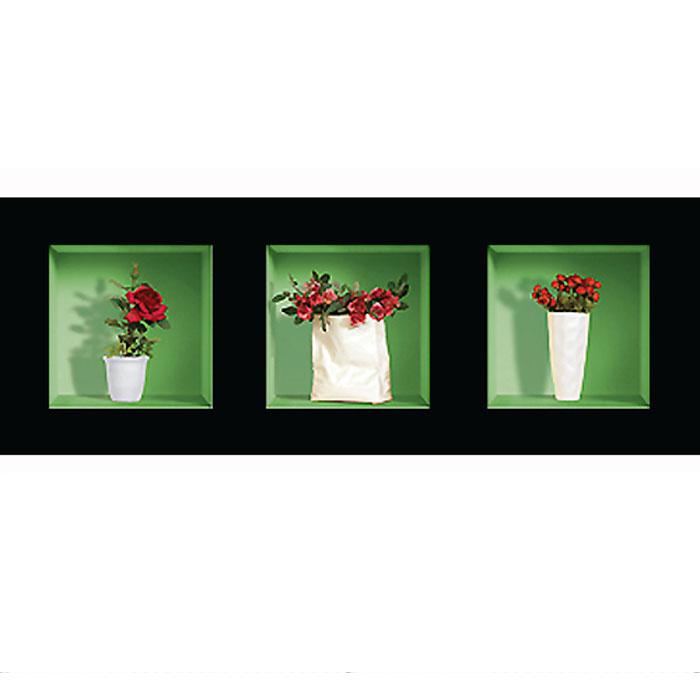 Украшение для стен и предметов интерьера с 3D эффектом Букеты роз №2SKU-786Декоративные наклейки на стену Nisha - это прекрасный способ обновить интерьер в гостиной, детскойкомнате, спальне, столовой или офисных помещениях. 3D наклейки создают иллюзию ниши срасставленными в них игрушками, цветами, вазами или статуэтками и придают помещению уникальныйдизайн. Добавьте новых красок в монотонность будней! Уникальный дизайн с элементами оптической иллюзии создается на основе обычных фотографий. Длядостижения трехмерного эффекта объекты «помещают» внутрь ниш с помощью специального программногообеспечения. В наклейках использован эффект света внутри ниши, это позволяет зрительно расширитьпомещение, не прибегая к использованию осветительных приборов.Наклейки можно использовать на следующих поверхностях: обои, окрашенные стены, стекло, дерево,пластик и др. Главное требование - поверхность обязательно должна быть ровной. Использование на обояхс фактурной поверхностью возможно только с применением дополнительных склеивающих средств. Рекомендации по выбору стены:- Для получения максимального эффекта лучше всего выбрать стену, которая будет просматриваться срасстояния не менее 3 м.- Поверхность должна быть гладкой, сухой и чистой от загрязнений и пыли.- В случае если вы наклеиваете несколько наклеек рядом, то расстояние между ними должно быть не менее7 см.- Рекомендуется выбирать либо цветную стену либо предварительно ее покрасить цветной краской, так какэффект глубины значительно увеличивается именно на цветных стенах.- Если вы хотите отклеить наклейку, а затем вновь приклеить, отклеивайте ее очень аккуратно, для тогочтобы избежать загибания углов.- Если наклейка приклеивается на высоте более 2 м, то необходимо отрезать ее нижнюю часть острымножом перед наклеиванием. Если высота наклеивания меньше 1,5 м, то необходимо обрезать верхнюючасть наклейки. Характеристики:Материал: самоклеющаяся пленка. Количество листов: 3 шт. Размер наклейки: 32 см х 32 см. Размер упаковки: 45 см х 3