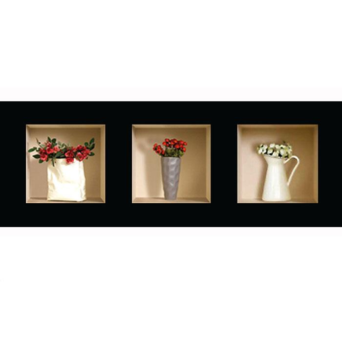 Украшение для стен и предметов интерьера с 3D эффектом Вазы с цветами №2 SKU-335Декоративные наклейки на стену Nisha - это прекрасный способ обновить интерьер в гостиной, детскойкомнате, спальне, столовой или офисных помещениях. 3D наклейки создают иллюзию ниши срасставленными в них игрушками, цветами, вазами или статуэтками и придают помещению уникальныйдизайн. Добавьте новых красок в монотонность будней! Уникальный дизайн с элементами оптической иллюзии создается на основе обычных фотографий. Длядостижения трехмерного эффекта объекты «помещают» внутрь ниш с помощью специального программногообеспечения. В наклейках использован эффект света внутри ниши, это позволяет зрительно расширитьпомещение, не прибегая к использованию осветительных приборов.Наклейки можно использовать на следующих поверхностях: обои, окрашенные стены, стекло, дерево,пластик и др. Главное требование - поверхность обязательно должна быть ровной. Использование на обояхс фактурной поверхностью возможно только с применением дополнительных склеивающих средств. Рекомендации по выбору стены:- Для получения максимального эффекта лучше всего выбрать стену, которая будет просматриваться срасстояния не менее 3 м.- Поверхность должна быть гладкой, сухой и чистой от загрязнений и пыли.- В случае если вы наклеиваете несколько наклеек рядом, то расстояние между ними должно быть не менее7 см.- Рекомендуется выбирать либо цветную стену либо предварительно ее покрасить цветной краской, так какэффект глубины значительно увеличивается именно на цветных стенах.- Если вы хотите отклеить наклейку, а затем вновь приклеить, отклеивайте ее очень аккуратно, для тогочтобы избежать загибания углов.- Если наклейка приклеивается на высоте более 2 м, то необходимо отрезать ее нижнюю часть острымножом перед наклеиванием. Если высота наклеивания меньше 1,5 м, то необходимо обрезать верхнюючасть наклейки. Характеристики:Материал: самоклеющаяся пленка. Количество листов: 3 шт. Размер наклейки: 32 см х 32 см. Размер упаковки: 45 с