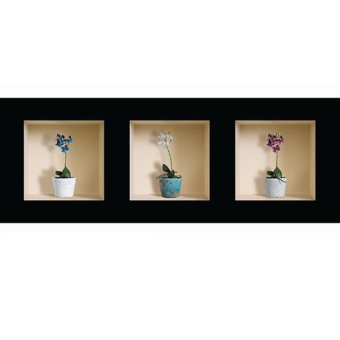 Украшение для стен и предметов интерьера с 3D эффектом Горшки с цветами №3 AE 4002Декоративные наклейки на стену Nisha - это прекрасный способ обновить интерьер в гостиной, детскойкомнате, спальне, столовой или офисных помещениях. 3D наклейки создают иллюзию ниши срасставленными в них игрушками, цветами, вазами или статуэтками и придают помещению уникальныйдизайн. Добавьте новых красок в монотонность будней! Уникальный дизайн с элементами оптической иллюзии создается на основе обычных фотографий. Длядостижения трехмерного эффекта объекты «помещают» внутрь ниш с помощью специального программногообеспечения. В наклейках использован эффект света внутри ниши, это позволяет зрительно расширитьпомещение, не прибегая к использованию осветительных приборов.Наклейки можно использовать на следующих поверхностях: обои, окрашенные стены, стекло, дерево,пластик и др. Главное требование - поверхность обязательно должна быть ровной. Использование на обояхс фактурной поверхностью возможно только с применением дополнительных склеивающих средств. Рекомендации по выбору стены:- Для получения максимального эффекта лучше всего выбрать стену, которая будет просматриваться срасстояния не менее 3 м.- Поверхность должна быть гладкой, сухой и чистой от загрязнений и пыли.- В случае если вы наклеиваете несколько наклеек рядом, то расстояние между ними должно быть не менее7 см.- Рекомендуется выбирать либо цветную стену либо предварительно ее покрасить цветной краской, так какэффект глубины значительно увеличивается именно на цветных стенах.- Если вы хотите отклеить наклейку, а затем вновь приклеить, отклеивайте ее очень аккуратно, для тогочтобы избежать загибания углов.- Если наклейка приклеивается на высоте более 2 м, то необходимо отрезать ее нижнюю часть острымножом перед наклеиванием. Если высота наклеивания меньше 1,5 м, то необходимо обрезать верхнюючасть наклейки. Характеристики:Материал: самоклеющаяся пленка. Количество листов: 3 шт. Размер наклейки: 32 см х 32 см. Размер упаковки: 45