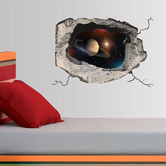Украшение для стен и предметов интерьера с 3D эффектом Hole КосмосTHN132NДекоративные наклейки на стену Nisha - это прекрасный способ обновить интерьер в гостиной, детской комнате, спальне, столовой или офисных помещениях. Уникальный дизайн с элементами оптической иллюзии создается на основе обычных фотографий. Для достижения трехмерного эффекта объекты «помещают» внутрь ниш с помощью специального программного обеспечения. Наклейки можно использовать на следующих поверхностях: обои, окрашенные стены, стекло, дерево, пластик и др. Главное требование - поверхность обязательно должна быть ровной. Использование на обоях с фактурной поверхностью возможно только с применением дополнительных склеивающих средств.Рекомендации по выбору стены:- Для получения максимального эффекта лучше всего выбрать стену, которая будет просматриваться с расстояния не менее 3 м.- Поверхность должна быть гладкой, сухой и чистой от загрязнений и пыли.- В случае если вы наклеиваете несколько наклеек рядом, то расстояние между ними должно быть не менее 7 см.- Рекомендуется выбирать либо цветную стену либо предварительно ее покрасить цветной краской, так как эффект глубины значительно увеличивается именно на цветных стенах.- Если вы хотите отклеить наклейку, а затем вновь приклеить, отклеивайте ее очень аккуратно, для того чтобы избежать загибания углов. Характеристики:Материал: самоклеющаяся пленка. Количество листов: 1 шт. Размер наклейки: 48 см х 33 см. Размер упаковки: 48 см х 33 см. Артикул: SKU 632.