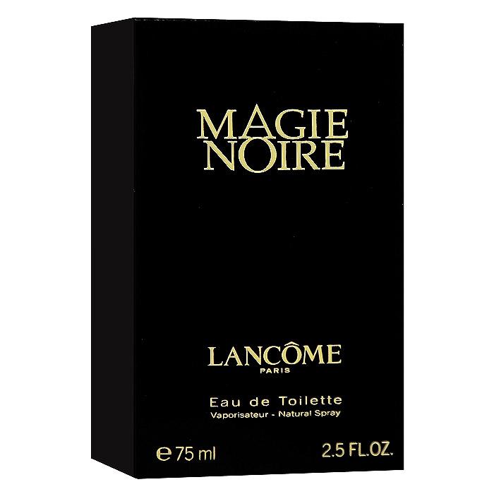 Lancome Magie Noire. Туалетная вода, 75 млUE003Lancome Magie Noire - обольстительный восточный амброво-древесный аромат. Экзотика и тайна востока. Предназначен для обольстительной, изысканной, чувственной, загадочной, томной женщины.Классификация аромата: восточный.Пирамида аромата:Верхние ноты: бергамот, гиацинт, черная смородина, малина.Ноты сердца: роза, мед, нарцисс, тубероза.Ноты шлейфа: ветивер, пачули.Ключевые словаКлассический, мистический, роскошный, яркий! Характеристики:Объем: 75 мл. Производитель: Франция. Туалетная вода - один из самых популярных видов парфюмерной продукции. Туалетная вода содержит 4-10%парфюмерного экстракта. Главные достоинства данного типа продукции заключаются в доступной цене, разнообразии форматов (как правило, 30, 50, 75, 100 мл), удобстве использования (чаще всего - спрей). Идеальна для дневного использования. Товар сертифицирован.