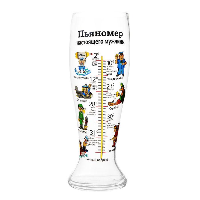 Бокал пивной Пьяномер настоящего мужчины, 1,5 лEL76-1689Пивной бокал Пьяномер настоящего мужчины понравится любителям пенного напитка, веселых посиделок, отвязных вечеринок и искрометных пикников! Оригинальный бокал в вашей руке превращает заурядную встречу в незабываемый вечер. Бокал оформлен шкалой, с изображением забавных картинок с указанием мужских праздников. Характеристики:Материал: стекло. Объем бокала: 1,5 л. Высота бокала: 29,5 см. Диаметр по верхнему краю:9 см. Размер упаковки:11 см х 29,5 см х 11 см. Артикул: 93776.
