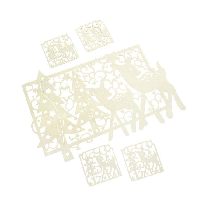 Набор подставок под горячее House & Holder 5шт, цвет: бежевый LS106052CR115510Оригинальный набор House & Holder, выполненный из фетра бежевых цветов, состоит из пяти подставок под кружки. Такие подставки идеально впишутся в интерьер современной кухни. Большая прямоугольная и маленькие квадратные подставки, оформлены перфорацией в виде оленей с новогодними елками и узорами. Каждая хозяйка знает, что подставка под горячее - это незаменимый и очень полезный аксессуар на каждой кухне. Ваш стол будет не только украшен оригинальными подставками, но и сбережет его от воздействия высоких температур. Характеристики:Материал:фетр. Цвет:бежевый. Размер большой салфетки:43 см х 25 см х 0,3 см. Размер маленькой салфетки:9,5 см х 9,5 х 0,3 см. Комплектация:5 шт. Артикул:LS106052CR.
