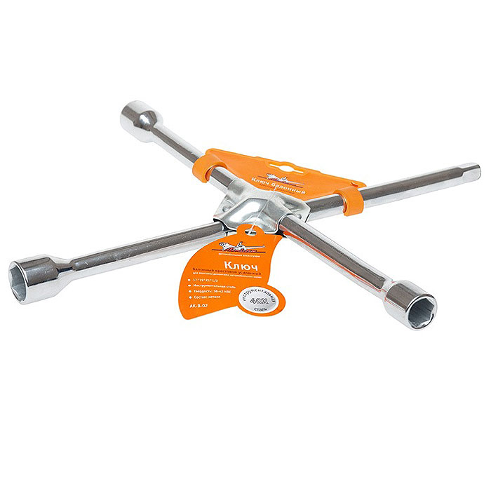 Ключ баллонный AirlineAK-B-02, крестовой, усиленный, 17 мм, 19 мм, 21 мм, 1/22706 (ПО)Ключ баллонный Airline предназначен для монтажа/демонтажа автомобильных колес. Cделан из специальной инструментальной стали, что гарантирует их более долговечную работу. Имеет разъем 1/2 под торцевую головку. Характеристики: Материал:инструментальная сталь. Размер головок: 17 мм, 19 мм, 22 мм, 1/2 Размер ключа: 35 см х 36 ми х 3 см. Размер упаковки: 35 см х 36 см х 3 см.