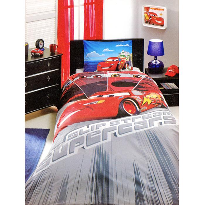 Постельное белье Cars Face Movie (1,5 спальный детский КПБ, ранфорс, наволочка 50х70), цвет: красный
