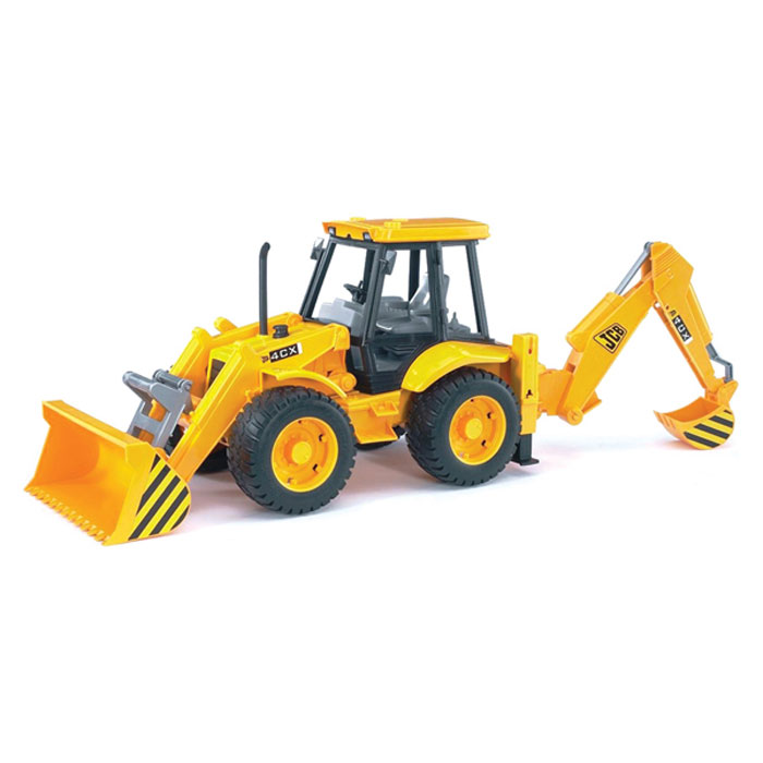 """Яркий экскаватор-погрузчик Bruder """"JCB 4CX"""", выполненный из прочного материала, отлично подойдет ребенку для различных игр. Экскаватор оснащен двумя опорами и большим ковшом, фиксирующимся в верхнем положении, с помощью которого можно перемещать материалы (камушки, песок, веточки и др.), убирать строительный мусор или расчищать площадку. Манипулятор экскаватора поворачивается на 180 градусов. Сзади экскаватора находится стрела со вторым ковшом, которая поднимается, опускается и поворачивается, что поможет ребенку в его работах. В просторную незастекленную кабину машины легко поместится минифигурка водителя. Сиденье экскаваторщика крутится на 360 градусов. Прорезиненные колеса автомобиля со свободным ходом обеспечивают игрушке устойчивость и хорошую проходимость. С этим реалистично выполненным экскаватором-погрузчиком ваш малыш часами будет занят игрой."""