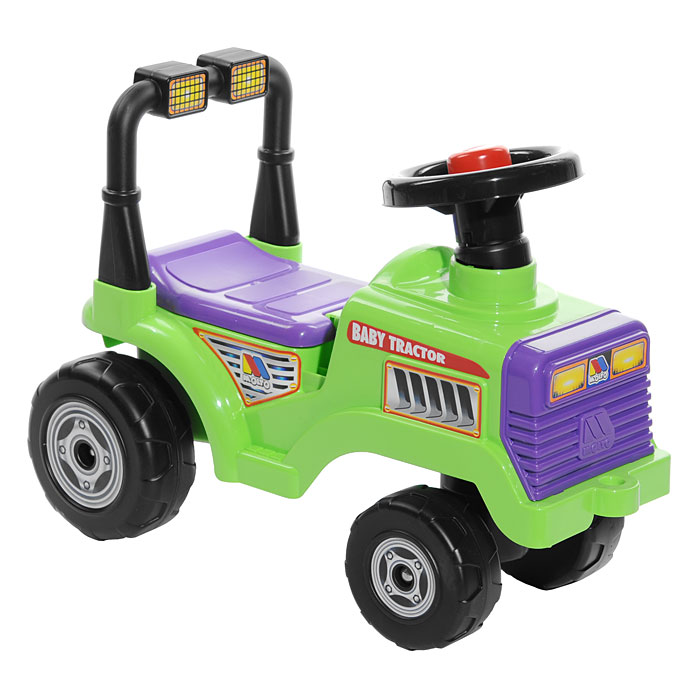 """Детский трактор-каталка """"Митя"""" станет любимым средством передвижения вашего малыша. Яркий трактор имеет высокий руль с клаксоном, удобное сиденье со спинкой и большие устойчивые колеса. Сиденье трактора поднимается, открывая небольшой отсек, в котором можно расположить маленькие игрушки. Трактор-каталка выполнен из прочного пластика, а оси колес - из металла, что гарантирует его прочность и долговечность. Для того чтобы покататься, ребенку достаточно просто сесть на сиденье и, отталкиваясь ногами, катиться вперед. С таким трактором не только прогулки, но и игры малыша станут веселее и увлекательнее. Порадуйте его таким замечательным подарком!"""