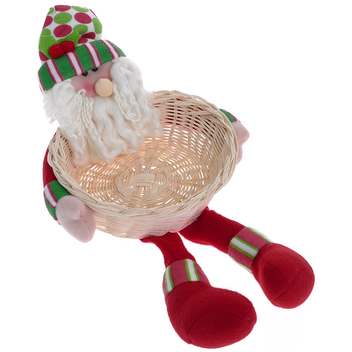 Новогоднее украшение Санта с корзиной. 2556431250Это симпатичный Санта с роскошной бородой может быть не только украшением, но и оригинальным оформлением подарка. Голова, руки и ногивыполнены из мягкого текстиля. В руках у него плетеная корзинка, куда с легкостью поместится несколько елочных украшений или небольшой презент.Характеристики: Материал:полиэстр, дерево.Размер украшения:22 см х 22 см х 38 см.Изготовитель:Китай.Артикул:25564.