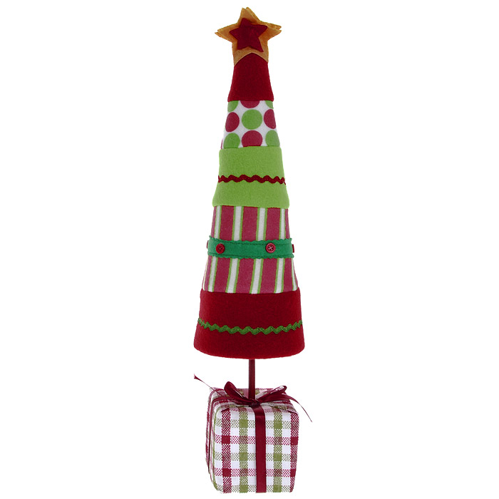 Новогоднее настольное украшение Елка. 25553BH0422_прозрачныйОригинальная елочка в стиле hand-made может послужить в качестве украшения новогоднего стола, офиса или новогоднего сувенира. Бумажный каркас изделия обтянут мягкими тканями различной расцветки. Основанием служит небольшой кубик, оформленный в виде подарка с милым бантиком. Характеристики: Размер украшения:11,5 см х 11,5 см х 46 см.Изготовитель:Китай.Артикул:25553.