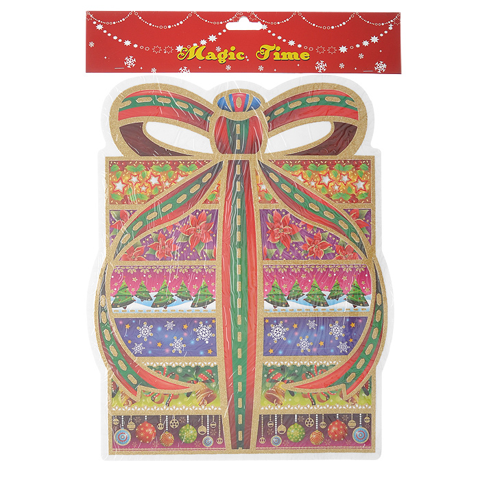 Оконное украшение Подарок. 1754335693Оконное украшение Подарок поможет вам подготовить свой дом к предстоящим праздникам. Цветные изображения и глиттер нанесены на прозрачную клейкую пленку. С помощью таких украшений вы сможете оживить интерьер по вашему вкусу: наклеить их на окно, на зеркала и даже на двери. Характеристики:Материал:пленка ПВХ. Размер:30 см х 36,5 см. Изготовитель:Тайвань. Артикул: 17543.
